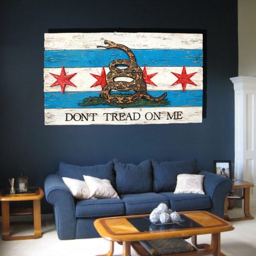 Gadsden Flag  with Chicago flag mashup, Don't Tread On Me, Weathered Wood One of a kind ,vintage, art, distressed, weathered, reclaim, snake