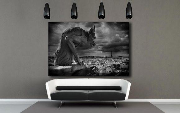 Gargoyle Gallery wrap, Notre Dame Cathedral, Paris decor, Paris France, eiffel Tower, Europe, Black White photography, gargoyle home decor