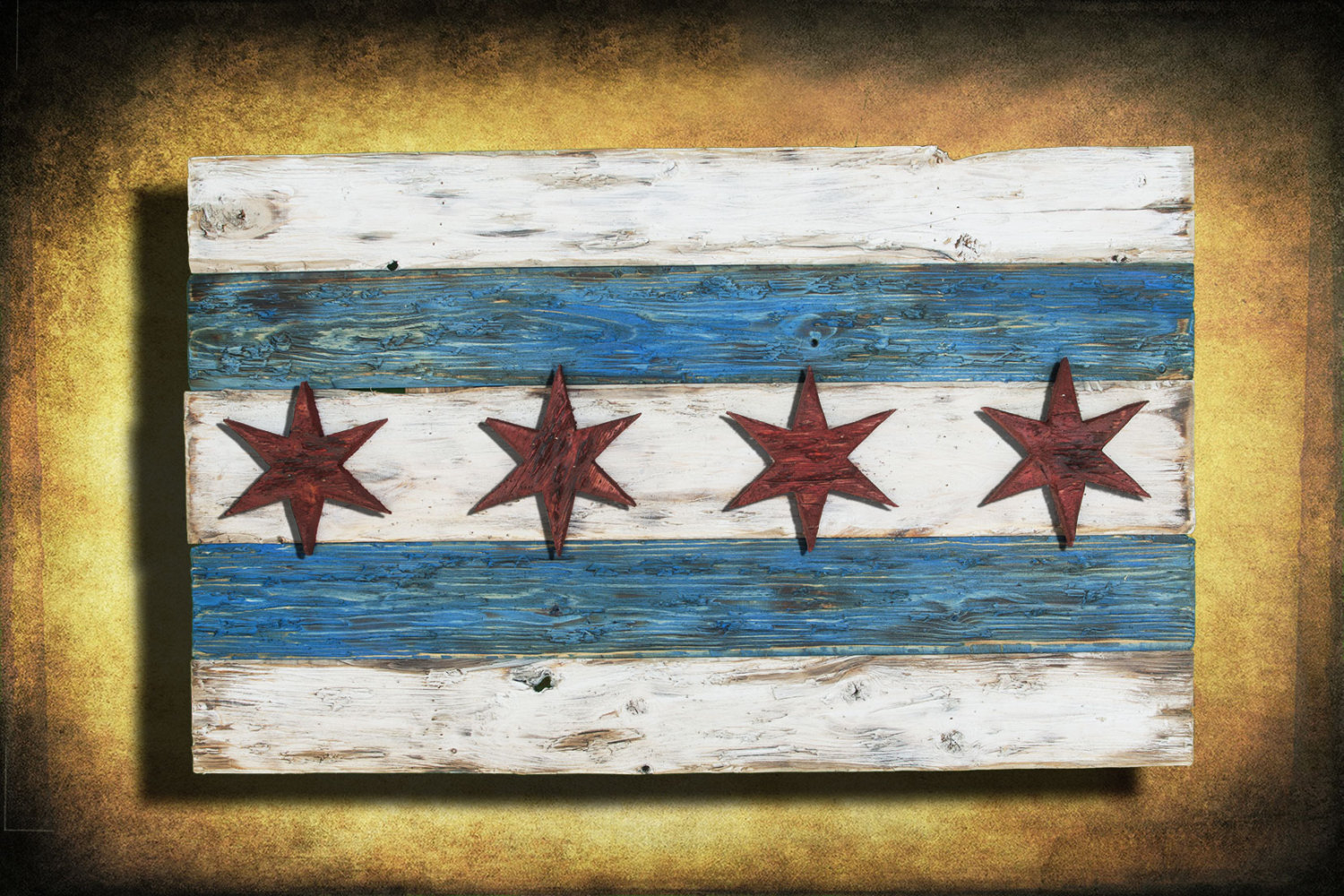 Handmade Distressed Wooden Chicago Flag Vintage Art