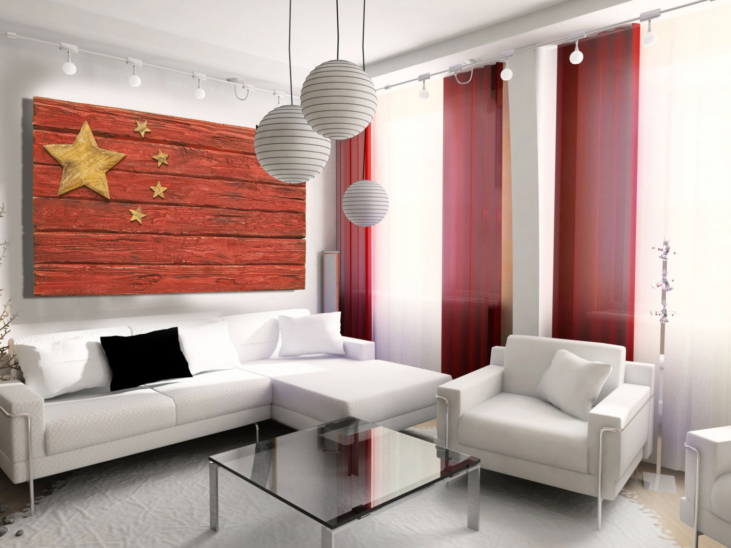 Art Décor: Handmade, Distressed Wooden Chinese Flag, Vintage, Art
