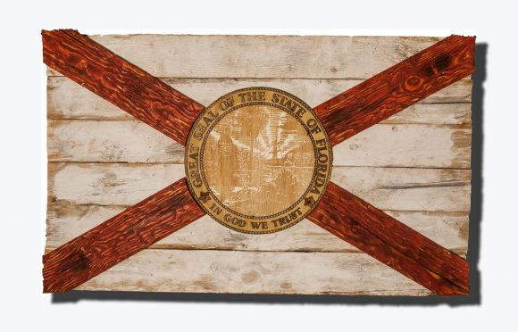 Handmade, Distressed Wooden Florida Flag, vintage, art, distressed, weathered, recycled, home decor, Wall art, recycled, white, red, Miami