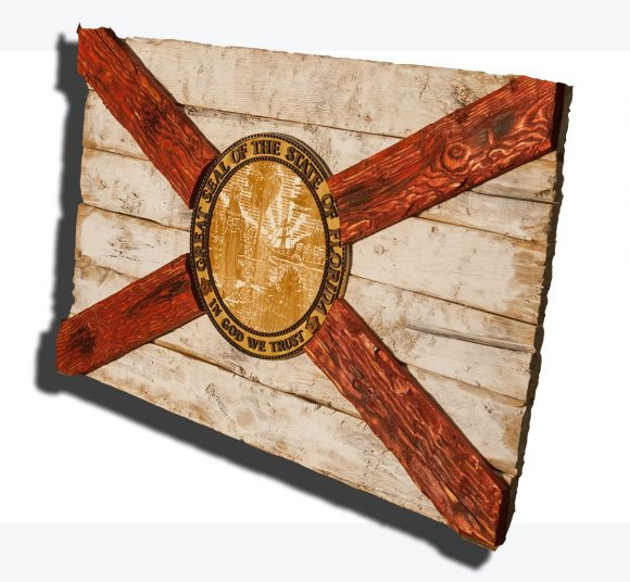 Handmade Distressed Wooden Florida Flag Vintage Art