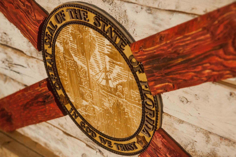 Handmade Distressed Wooden Florida Flag Vintage Art