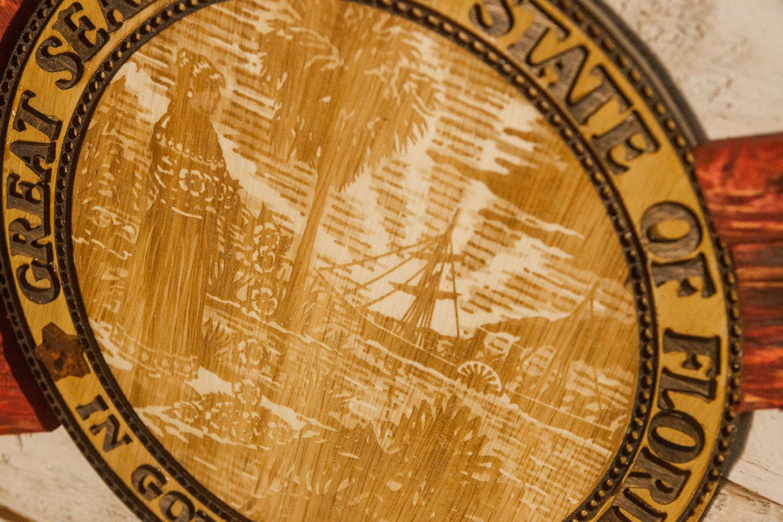 Handmade, Distressed Wooden Florida Flag, Vintage, Art
