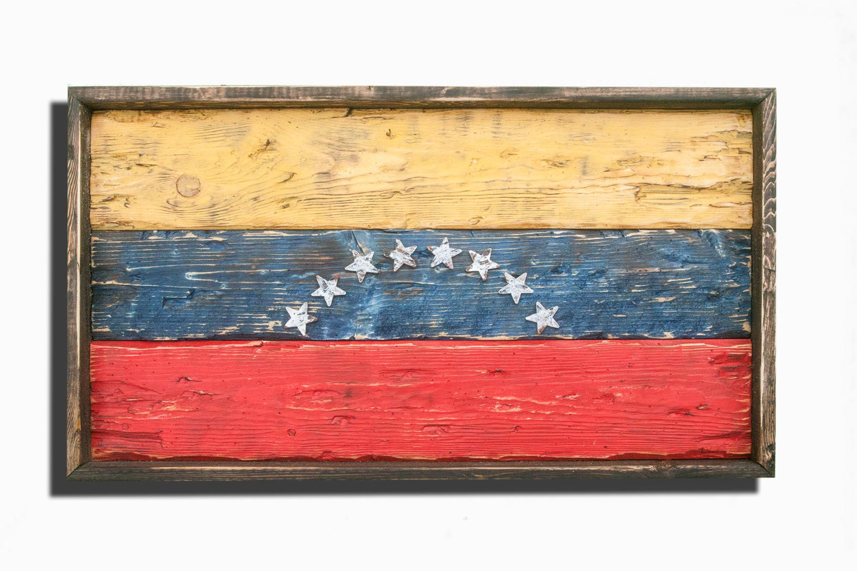 Handmade distressed wooden venezuela flag vintage for Home decor wall hanging