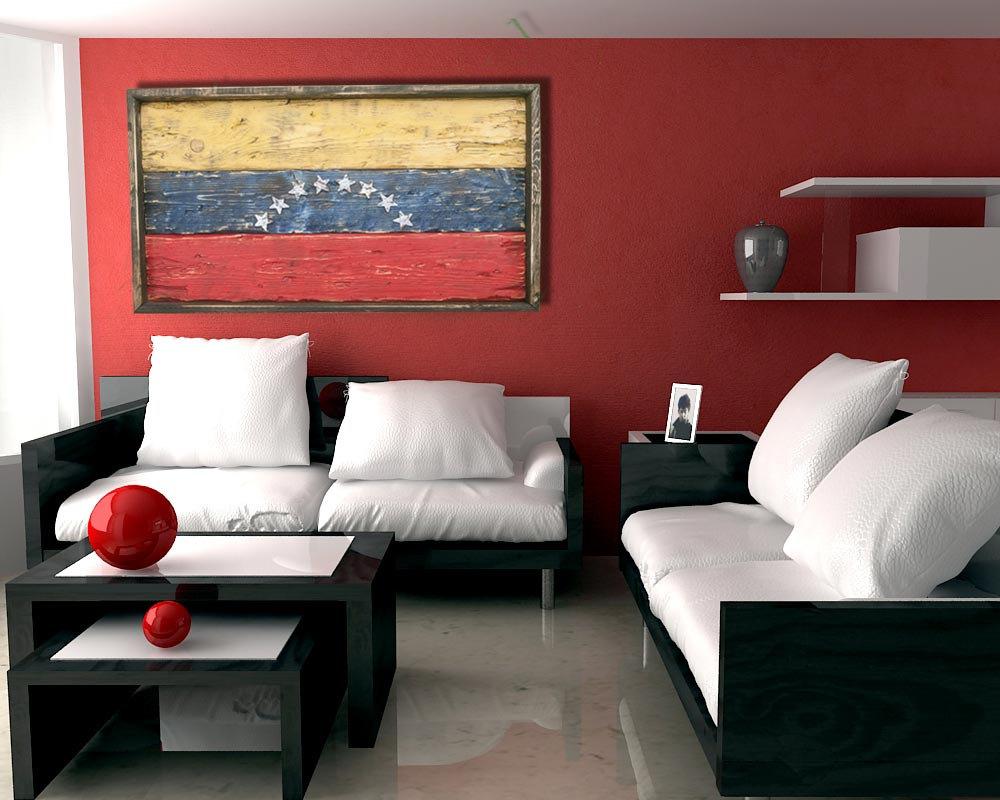 Art Décor: Handmade, Distressed Wooden Venezuela Flag, Vintage