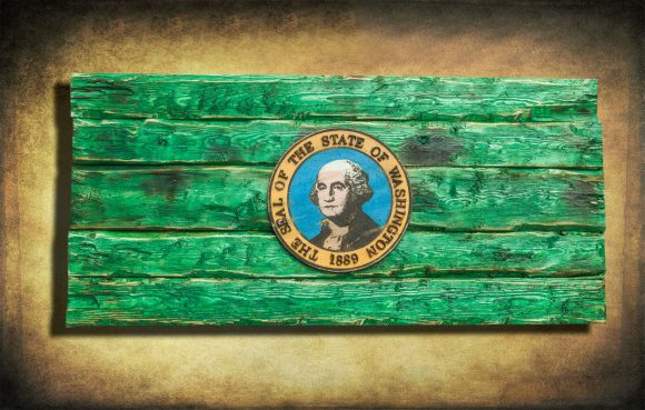 Handmade, Distressed Wooden Washington State Flag, vintage, art, distressed, weathered, recycled, home decor, Wall art, reclaimed, green