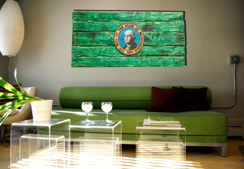 Handmade, Distressed Wooden Washington State Flag, Vintage