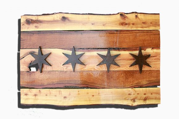 Handmade, live edge  wooden Chicago Flag, vintage, art, distressed, weathered, reclaimed, Chicago flag art, home decor, Wall art, Brown