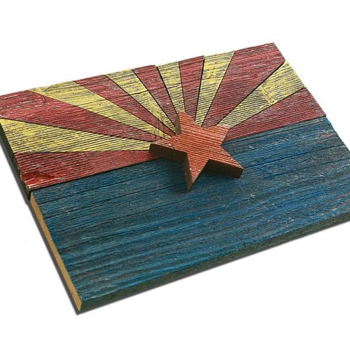 Handmade, reclaimed Wooden Arizona Flag, vintage, art, distressed, weathered, recycled, Arizona flag art, home decor, Wall art, recycled