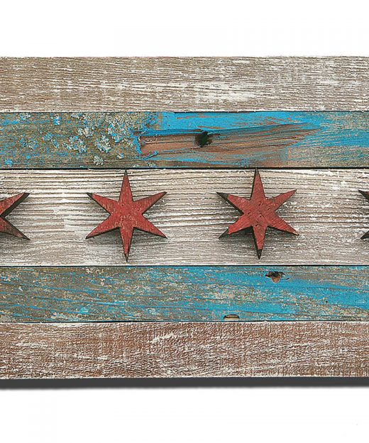 Handmade, reclaimed Wooden Chicago Flag, vintage, art, distressed, weathered, recycled, Chicago flag art, home decor, Wall art, recycled