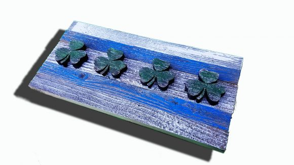 Handmade, reclaimed Wooden Chicago Flag with Irish Clovers, vintage, distressed, weathered, recycled, Chicago flag, home decor, Wall art,