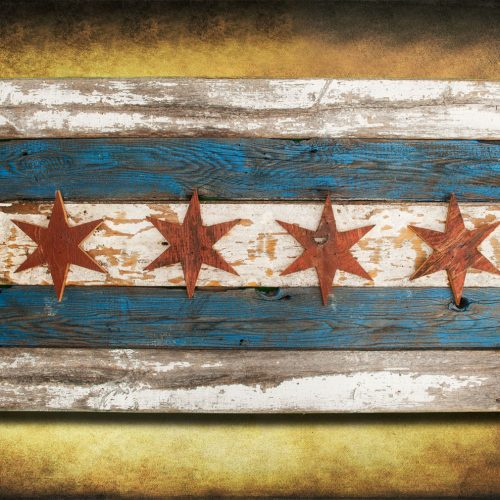 Handmade, Recycled Barn Wood Chicago Flag, vintage, art, distressed, weathered, reclaimed, Chicago flag art, home decor, Wall art, Blue