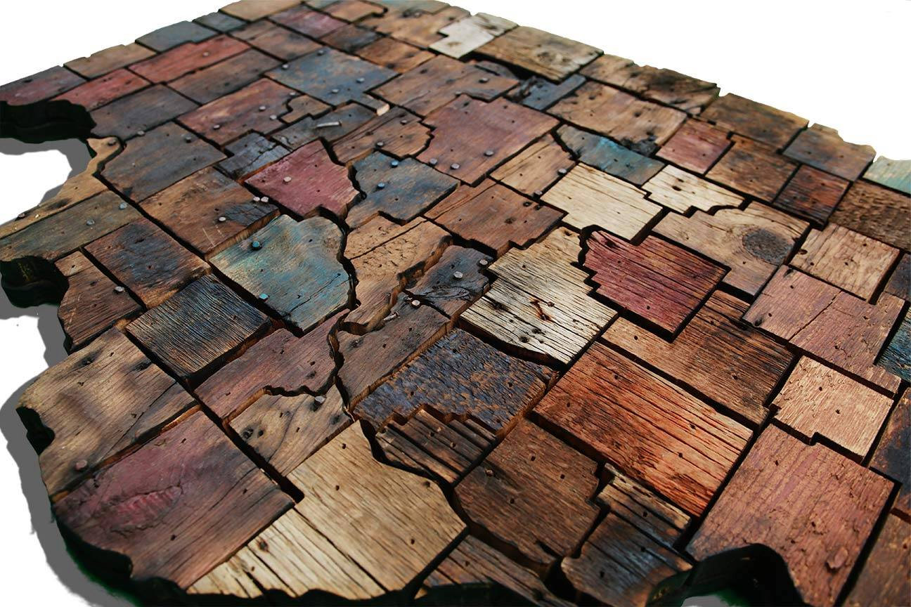 Illinois Counties Map Made From Reclaimed Barn Wood
