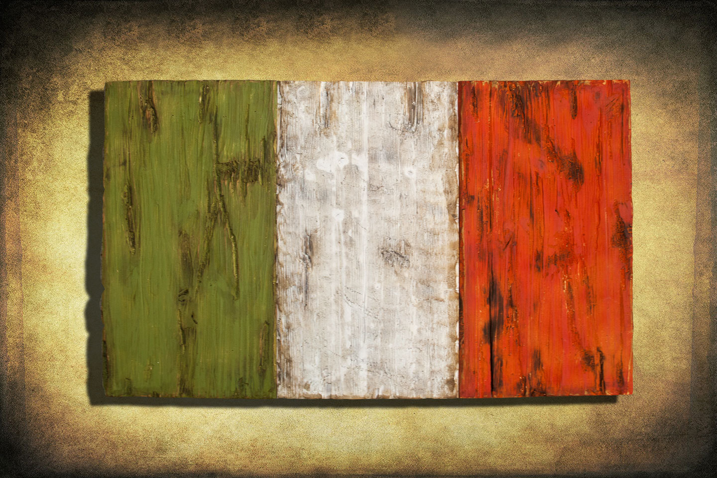 Irish Flag, Weathered Wood One Of A Kind, Wooden, Vintage