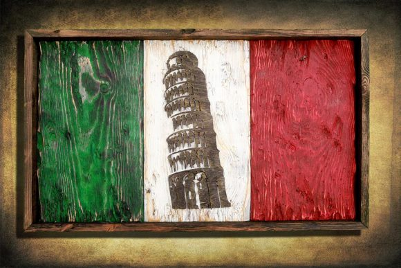 Italian flag, Leaning Tower Edition Weathered Wood One of a kind, vintage, distressed, reclaimed, Europe art flag art. Italy Red White green