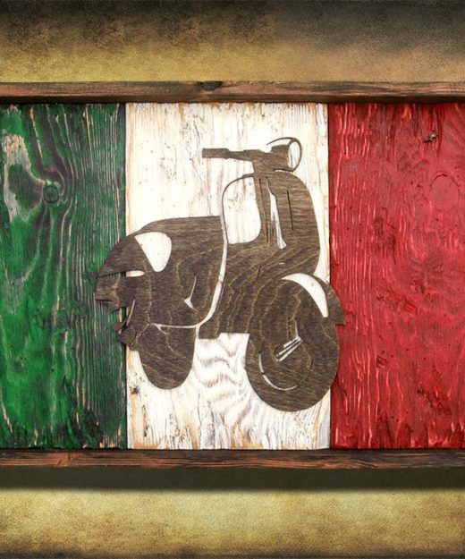 Italian flag, Vespa Edition Weathered Wood One of a kind, vintage, distressed, reclaimed, Europe art flag art. Italy, Red White green