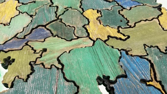 Map of Ireland made from Reclaimed fencing, recycled, reclaimed wooden map, vintage, rustic fine art one of a kind Irish piece.