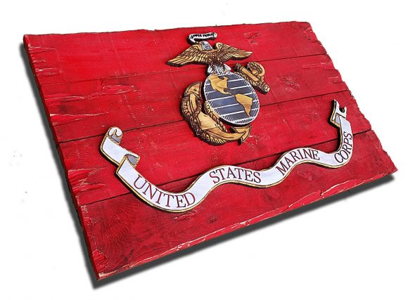 Marine Corps Flag, Handmade vintage, art, distressed, weathered, recycled, home decor, Wall art, reclaimed, Red, Yellow, 3D
