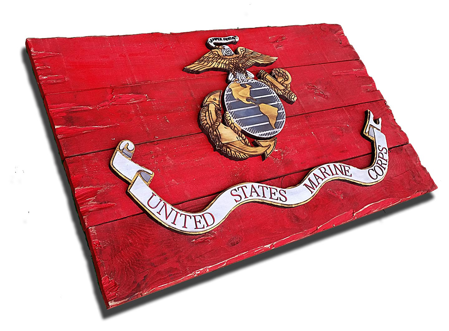 Marine Corps Flag Handmade Vintage Art Distressed
