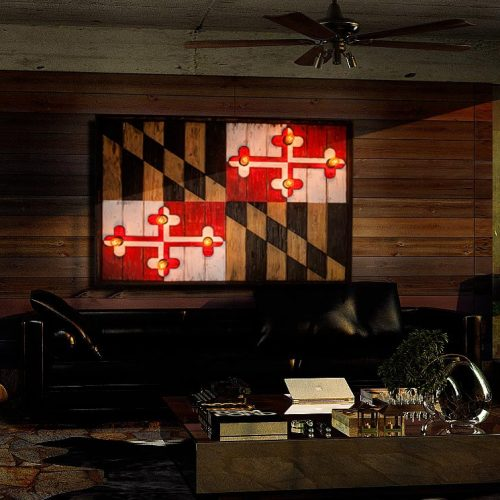 Maryland Flag, Limited Edison Edition, Weathered Wood One of a kind , Wooden, vintage, art, distressed, recycled, Baltimore, red, yellow