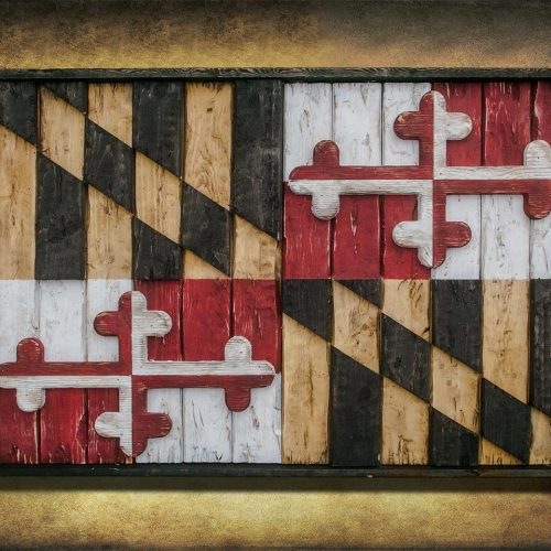 Maryland Flag, Limited Edition, Weathered Wood One of a kind , Wooden, vintage, art, distressed, weathered, recycled, Baltimore, red, yellow
