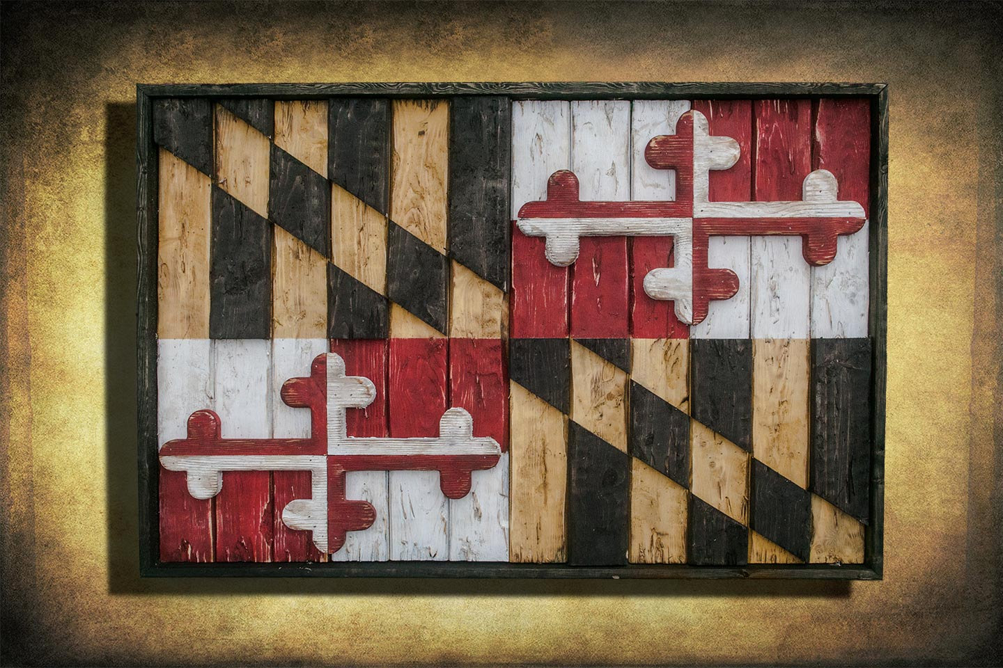 Brand-new Maryland Flag, Limited Edition, Weathered Wood One of a kind  HJ66