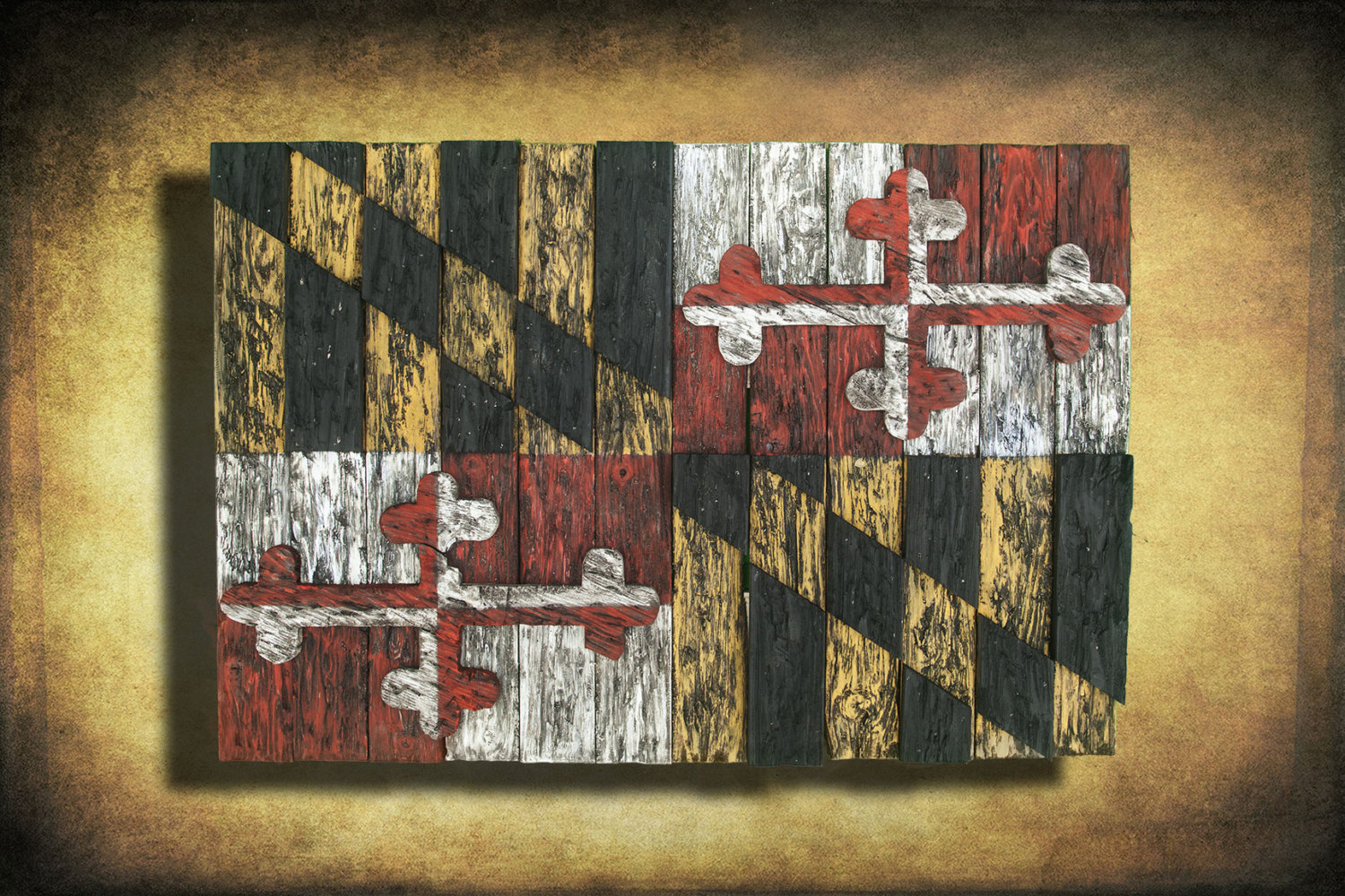Well known Maryland Flag, Limited Edition, Weathered Wood One of a kind  WG76