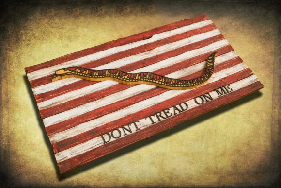 Navy Jack, Don't Tread On Me, Limited Edition, Weathered Wood One of a kind ,vintage, art, distressed, weathered, recycled, snake, yellow