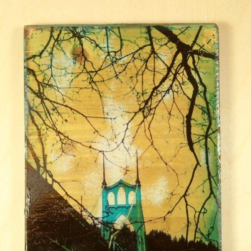 One of a kind  Polaroid transfer taken of the historic St. Johns Bridge in St. Johns Oregon transferred on a wood block.