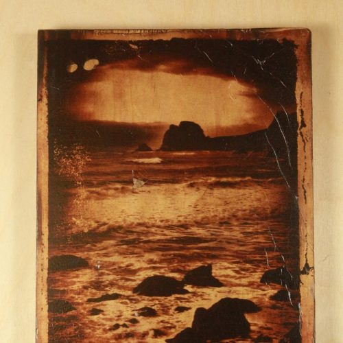 One of a kind  Polaroid transfer taken on the Oregon coast transferred on a wood block.