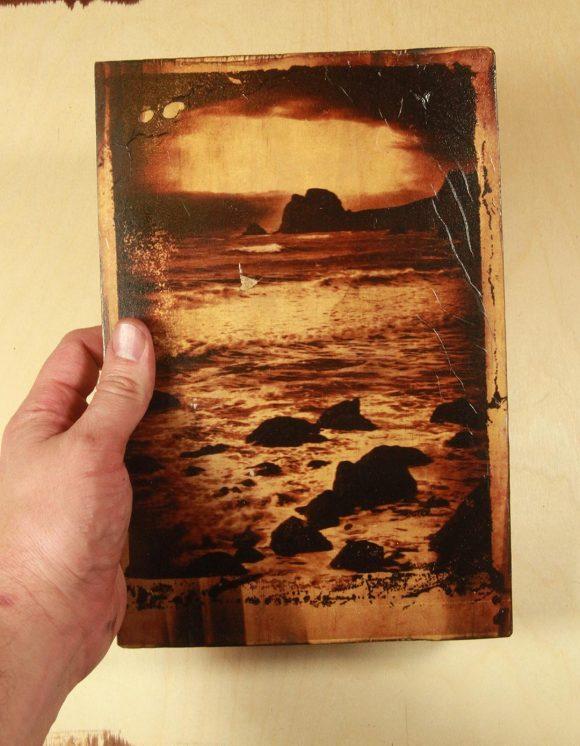 One of a kind  Polaroid transfer taken on the Oregon coast transferred on a wood block.
