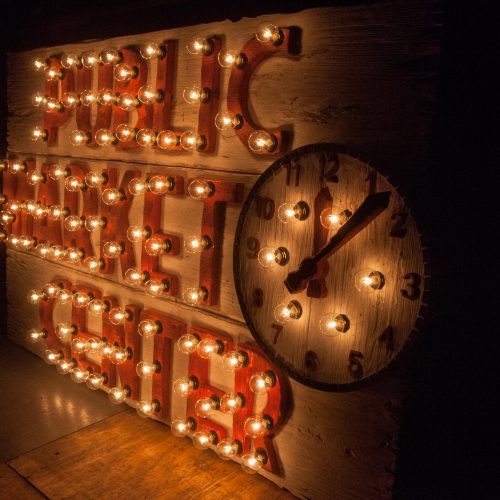 Pikes Place Market Seattle, a light up sign for your home or store, distressed, antique, barn wood, recycled, hollywood, rustic, red. orange