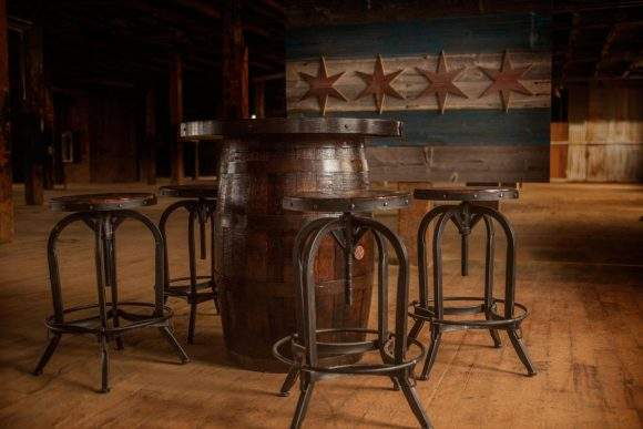 Reclaimed bourbon Barrel engraved personalized tables for your business or home with 4 matching stools