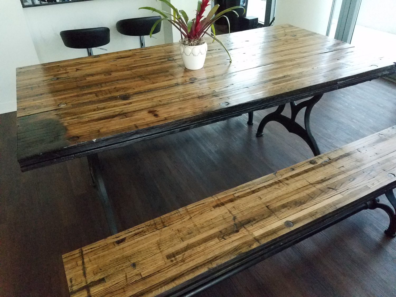 Reclaimed Oak Boxcar Plank Table With Benches Recycled