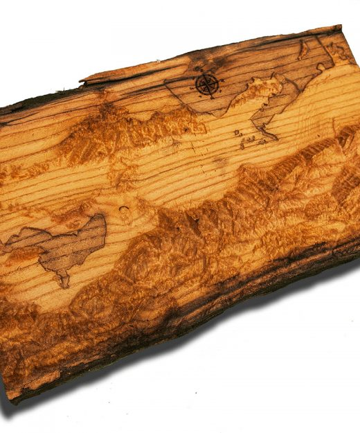 Seattle And Portland Area Topographical Map From A Natural Live Edge Wood Slab Washington