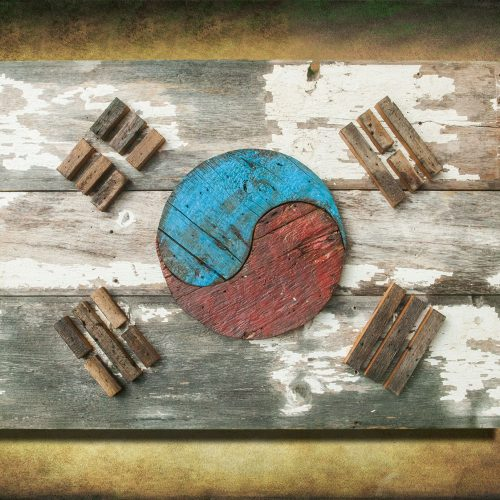 South Korean Flag,  Barn Wood Edition,  Wooden, vintage, art, distressed, weathered, recycled, Asia flag art. Repurposed, Korea