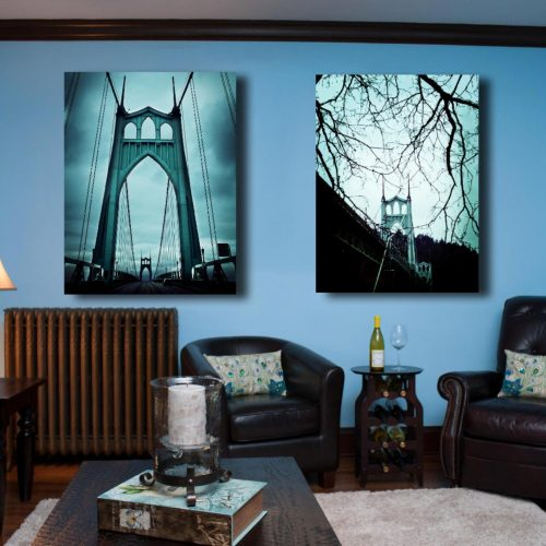 stunning museum quality canvas print, Saint Johns Bridge, photography, Teal, Blue, Portland Oregon, St. John's, Home Decor, Portland Bridge