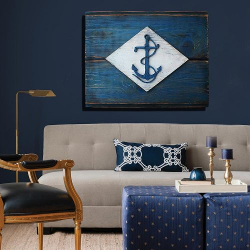 United States Naval Flag, 3D Vintage from reclaimed wood, art, weathered, recycled, home decor, Infantry Battalion Flag  Man Cave, blue