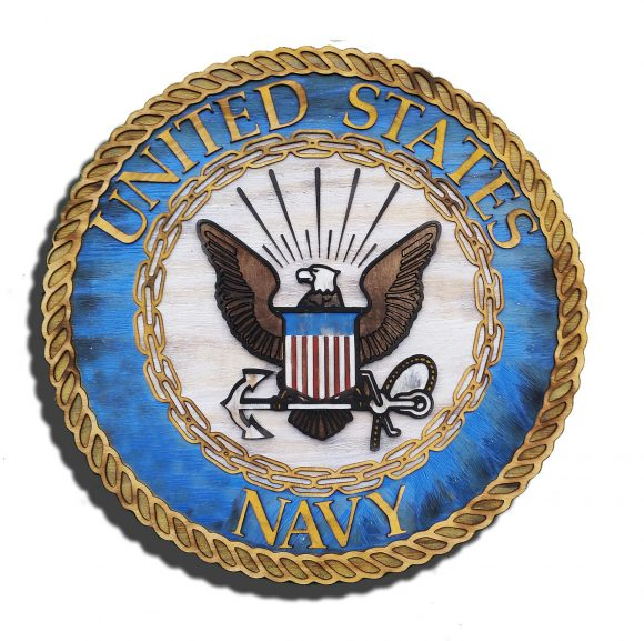 United States Navy official Seal 3D from reclaimed wood, vintage, art, weathered, recycled, home decor, Naval Academy, Man Cave, blue, brown