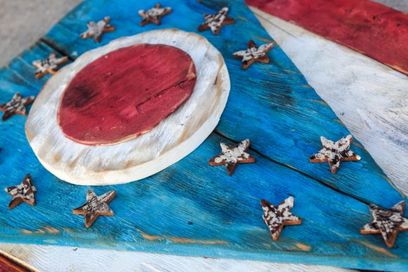 Weathered Wood One of a kind 3D Ohio Flag, Wooden, vintage, art, distressed, Cincinnati, Blue, Cleveland, red
