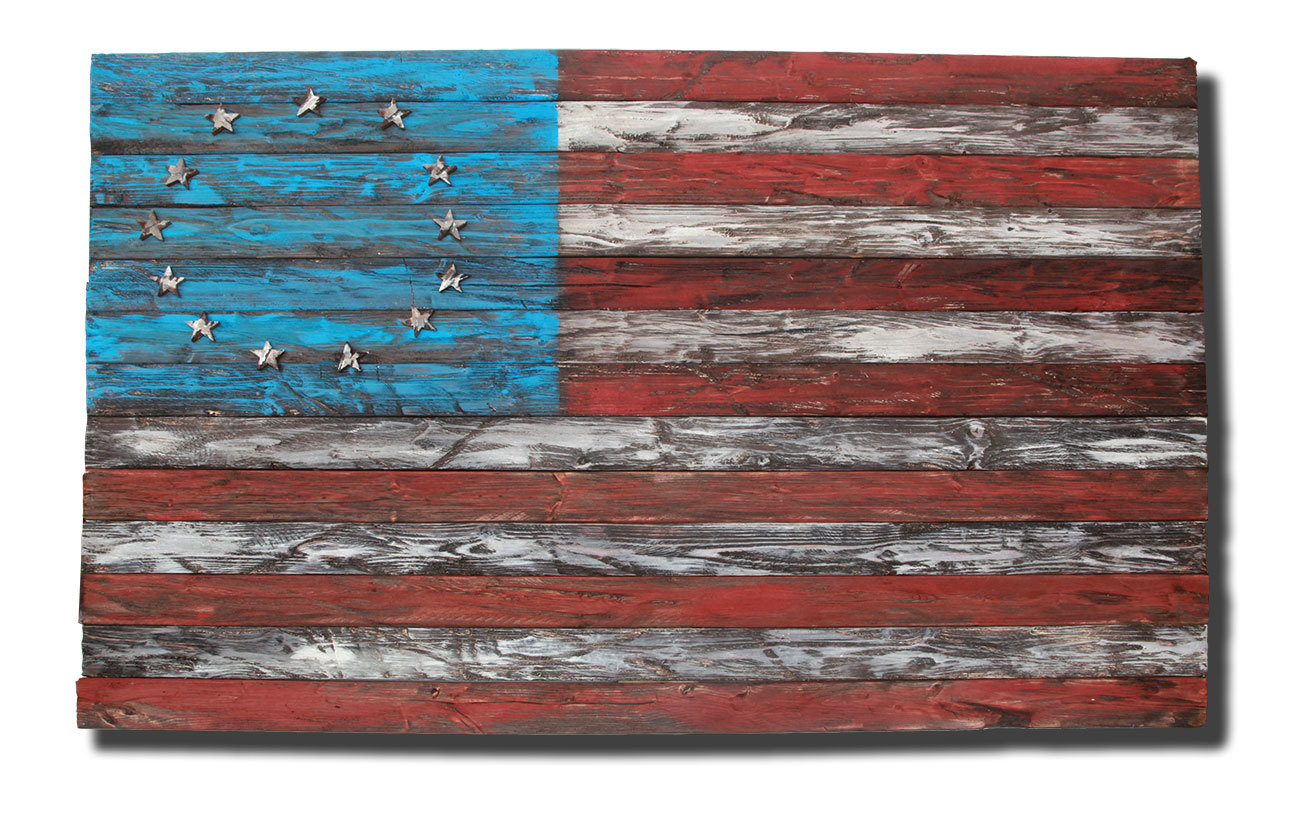 Greatest Weathered Wood One of a kind 3D original 13 colony American flag  RV92