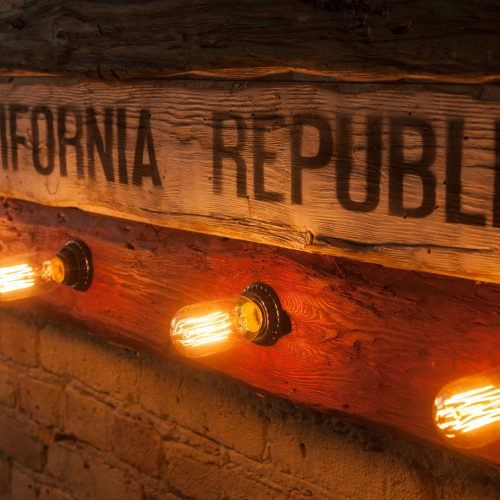 Weathered Wood One of a kind California Republic flag Edison Light Bulb Edition, Wooden, vintage, art, distressed, recycled, home decor art.
