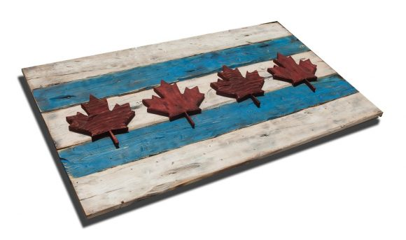 Weathered Wood One of a kind Chicago Flag ,Canada style, vintage, art, distressed, weathered, recycled, Chicago flag art, Canadian Flag
