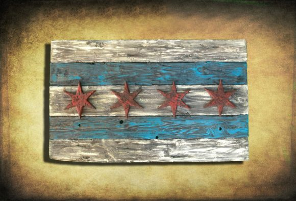 Weathered Wood One of a kind Chicago Flag,  vintage, art, distressed, weathered, recycled, Chicago flag art
