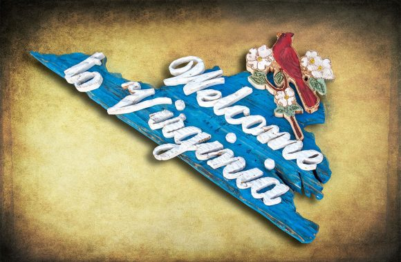 Welcome to Virginia Sign, Weathered Wood, One of a kind, 3D, Wooden, vintage, art, distressed, cardinal, Blue, wall art, VA, home decor