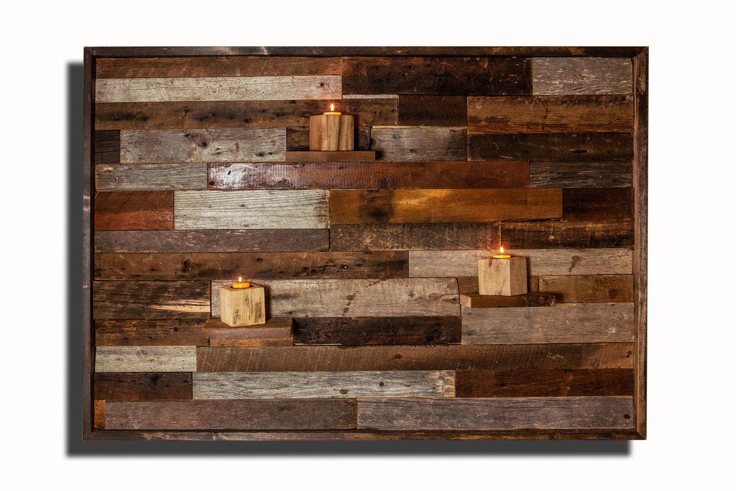 wood wall art with floating wood shelves made of reclaimed barnwood different sizes available. Black Bedroom Furniture Sets. Home Design Ideas