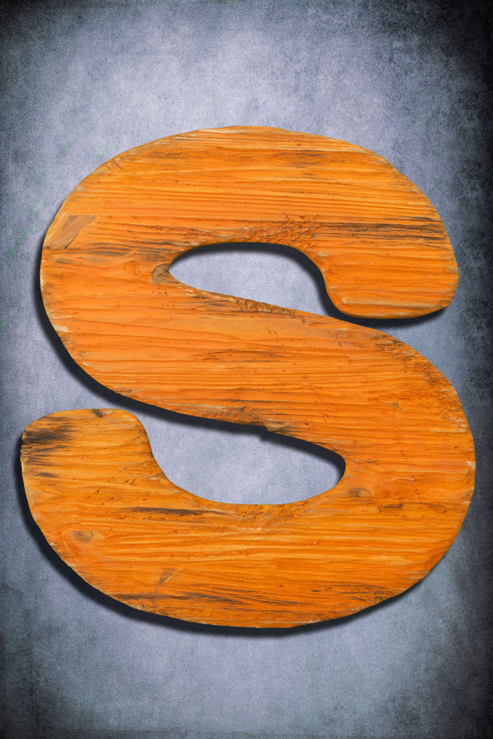 Wooden Letter Large Distressed Painted Shabby Chic Salvaged Barn Wood Letter Orange Nursery