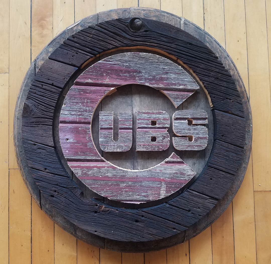 "19"" Chicago Cubs Bourbon Barrel Barn Wood Handmade"